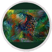 Vibrant Grapes Round Beach Towel by Nadine Rippelmeyer