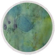 Vibrant Green Abstract Ink Design Round Beach Towel