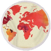 Vibrant Hot Watercolor World Map Round Beach Towel
