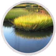 Vibrant Marsh Grasses Round Beach Towel