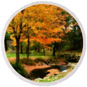 Vibrant October Round Beach Towel