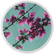 Vibrant Pink Flowers Bloom Floral Background Round Beach Towel