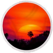 Vibrant Spring Sunset Round Beach Towel
