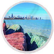 Vibrant Summer Vibes Round Beach Towel