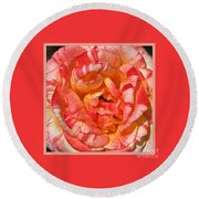 Vibrant Two Toned Rose With Design Round Beach Towel