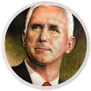 Vice President Mike Pence Portrait Round Beach Towel