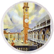 Vicenza Italy Travel Poster Round Beach Towel