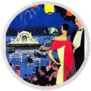 Vichy, Firework At Celebration Night Round Beach Towel