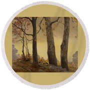 Victor Coleman Anderson 1882  1937 Wet Leaves Round Beach Towel