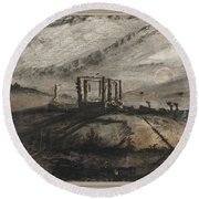Victor Hugo   Gallows Of Montfaucon   1847 Round Beach Towel