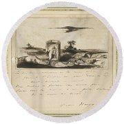 Victor Hugo   Landscape   1837 Round Beach Towel