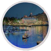 Victoria At Night Round Beach Towel