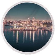 Victoria British Columbia City Lights View From Cruise Ship Round Beach Towel