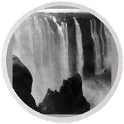 Victoria Falls - C 1911 Round Beach Towel by International  Images