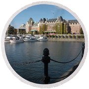 Victoria Harbour With Railing Round Beach Towel by Carol Groenen