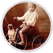 Victorian Boy With Pug Dog And Tricycle Circa 1900 Round Beach Towel
