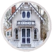Victorian Cottage Watercolor Round Beach Towel by Edward Fielding