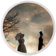 Victorian Couple Parting  Round Beach Towel