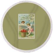 Victorian Era Valentine Card Round Beach Towel