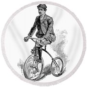 Victorian Gentleman Cycling Round Beach Towel