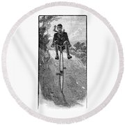 Victorian Gentleman On A Penny-farthing Round Beach Towel