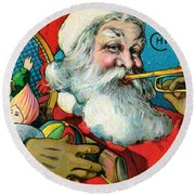Victorian Illustration Of Santa Claus Holding Toys And Blowing On A Trumpet Round Beach Towel