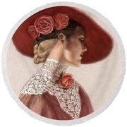 Victorian Lady In A Rose Hat Round Beach Towel