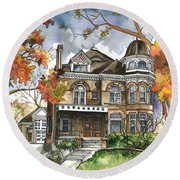 Victorian Mansion Round Beach Towel