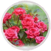 Victorian Rose Garden - Digital Painting Round Beach Towel