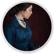 Victorian Woman Portrait In Profile  Round Beach Towel
