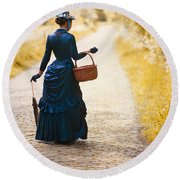 Victorian Woman With A Wicker Shopping Basket Round Beach Towel