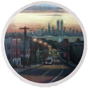 Victory Boulevard At Dawn Round Beach Towel by Sarah Yuster