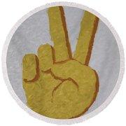 #victory Hand Emoji Round Beach Towel