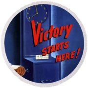 Victory Starts Here Round Beach Towel by War Is Hell Store