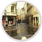 Vienna Corner After The Rain Round Beach Towel