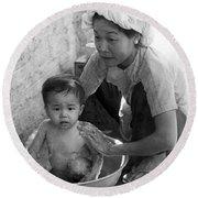 Vietnamese Orphan Bathing Round Beach Towel