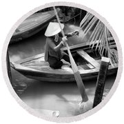 Vietnamese Woman Boat Ores Really For Tourist Mekong Delta  Round Beach Towel