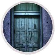 Vieux Carre' Doorway At Night Round Beach Towel