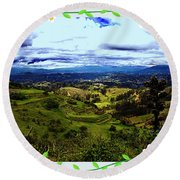 View And Inca/canari Ruins On Cojitambo II Round Beach Towel
