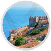 View Far Out To Sea From Alanya Castle Round Beach Towel