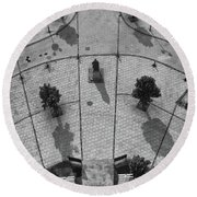 View From A Church Tower Monochrome Round Beach Towel
