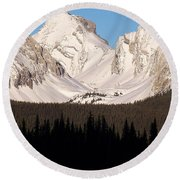 View From A Frozen Lake  Round Beach Towel