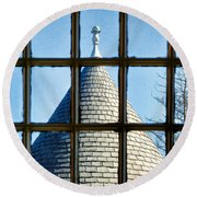 View From A New England Turret Round Beach Towel