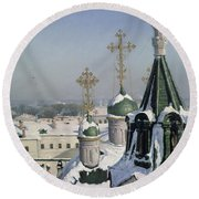View From A Window Of The Moscow School Of Painting Round Beach Towel by Sergei Ivanovich Svetoslavsky