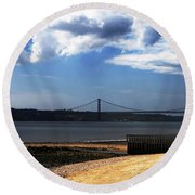 View From Across The Tagus Round Beach Towel