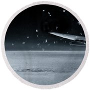 The View From Airplane Bw Round Beach Towel