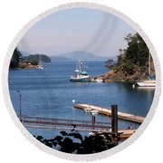 View From Buchart Gardens Round Beach Towel