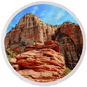 View From Canyon Overlook In Zion National Park Round Beach Towel