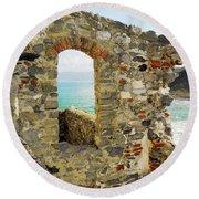 View From Doria Castle In Portovenere Italy Round Beach Towel