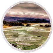 View From Ecola II Round Beach Towel